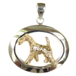Airedale Terrier in Glossy Oval Pendant
