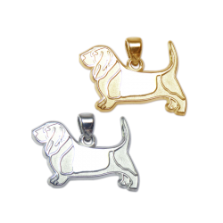 Basset Hound Charm or Pendant in Sterling Silver or 14K Gold