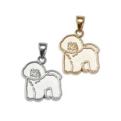 Bichon Frise Charm or Pendant in Sterling Silver or 14K Gold