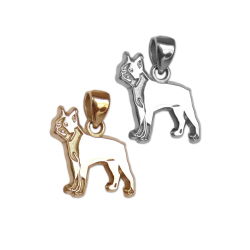 Boston Terrier Charm or Pendant in Sterling Silver or 14K Gold