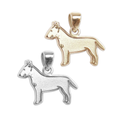 Bull Terrier Charm or Pendant in Sterling Silver or 14K Gold