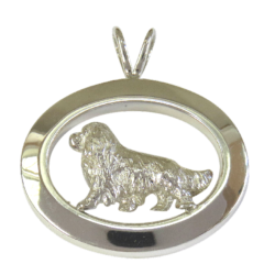 14K Gold or Sterling Silver Cavalier King Charles Spaniel in Glossy Oval Pendant