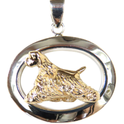 14K Gold or Sterling Silver Cocker Spaniel in Glossy Oval Pendant