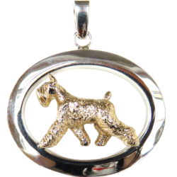 14K Gold or Sterling Silver Tracking Giant Schnauzer in Large Glossy Oval Pendant