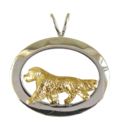 14K Gold or Sterling Silver Golden Retriever in Glossy Oval Pendant