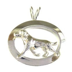 14K Gold or Sterling Silver Labrador Retriever in Glossy Oval Pendant