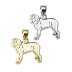 Mastiff Charm or Pendant in Sterling Silver or 14K Gold