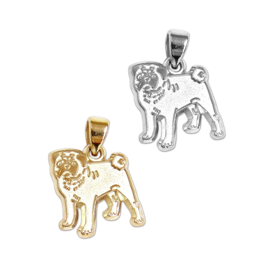 Pug Charm Or Pendant In Sterling Silver Or 14k Gold Hunting Horn Too
