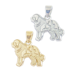 Saint Bernard Charm or Pendant in Sterling Silver or 14K Gold