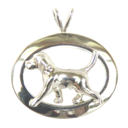 14K Gold or Sterling Silver Trotting Beagle in Glossy Oval Pendant