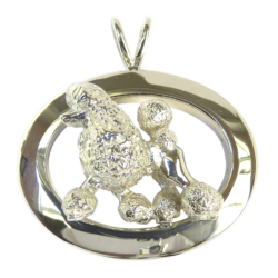 14K Gold or Sterling Silver Poodle in Glossy Oval Pendant