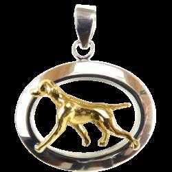 14K Gold or Sterling Silver Vizsla in Glossy Oval Pendant