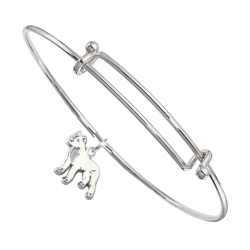 Sterling Silver American Staffordshire Terrier Charm Pendant on Bangle Bracelet