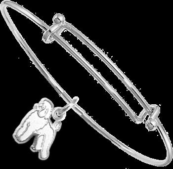 Sterling Silver Poodle Charm on Bangle Bracelet