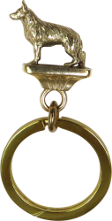 Solid Bronze German Shepherd Dog Key Ring