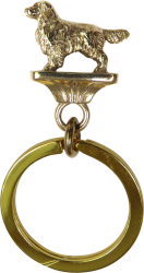 Solid Bronze Golden Retriever Key Ring