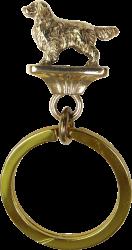 Solid Bronze Golden Retriever Key Ring
