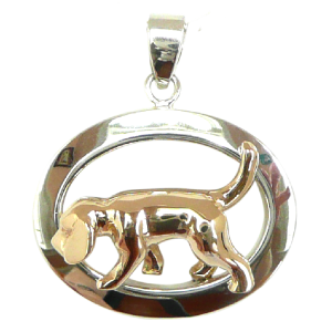 Sterling Silver or 14K Gold Beagle Tracking in Glossy Oval