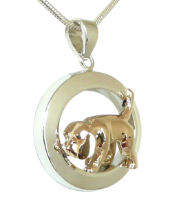 Sterling Silver or 14K Gold Beagle Tracking in Glossy Oval - Front View