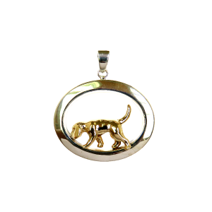 14K Gold or Sterling Beagle Tracking in Wide Oval - Front View
