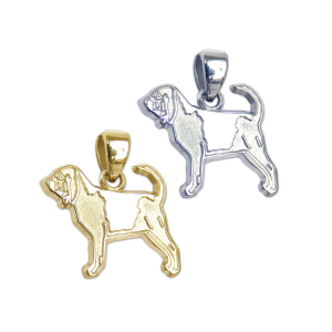 Bloodhound Charm or Pendant in Sterling Silver or 14K Gold