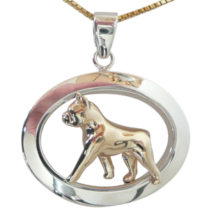 14K Gold or Sterling Silver Boston Terrier in Glossy Oval Pendant