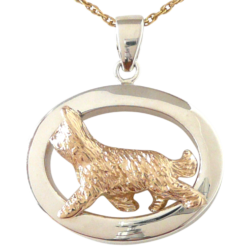 14K Gold or Sterling Silver Briard in Glossy Oval Pendant