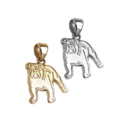 Bulldog Charm or Pendant in Sterling Silver or 14K Gold