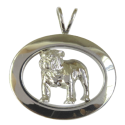 14K Gold or Sterling Silver Bulldog Standing in Glossy Narrow Oval