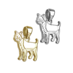 Smooth Chihuahua Charm or Pendant in Sterling Silver or 14K Gold