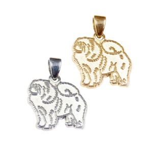 Chow Chow Charm or Pendant in Sterling Silver or 14K Gold