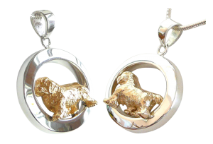 14K Gold or Sterling Silver Clumber Spaniel in Glossy Oval Pendant