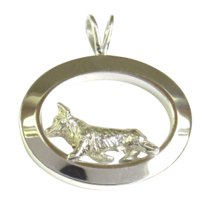 14K Gold or Sterling Silver Pembroke Welsh Corgi in Glossy Oval Pendant
