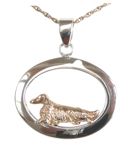 14K Gold or Sterling Silver Longhaired Dachshund in Glossy Oval Pendant