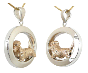 14K Gold or Sterling Silver Dandie Dinmont Terrier in Glossy Oval Pendant