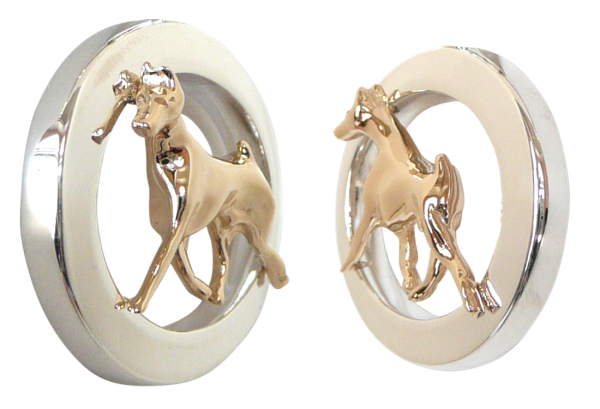 14K Gold or Sterling Silver Doberman Pinscher in Glossy Oval Pendant