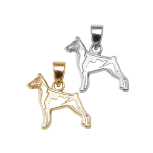 Doberman Pinscher Charm or Pendant in Sterling Silver or 14K Gold