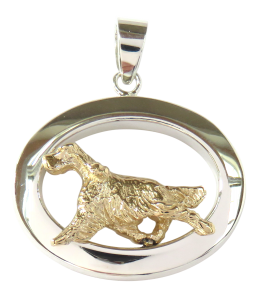 14K Gold or Sterling Silver English Setter in Glossy Oval Pendant