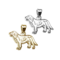 Flat Coated Retriever Charm or Pendant in Sterling Silver or 14K Gold