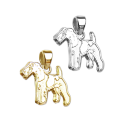 Wire Fox Terrier Charm or Pendant in Sterling Silver or 14K Gold