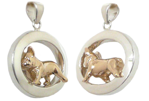 14K Gold or Sterling Silver French Bulldog in Glossy Oval Pendant