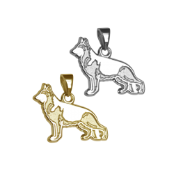 German Shepherd Dog Charm or Pendant in Sterling Silver or 14K Gold