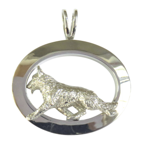 14K Gold or Sterling Silver German Shepherd Dog in Large Glossy Oval Pendant