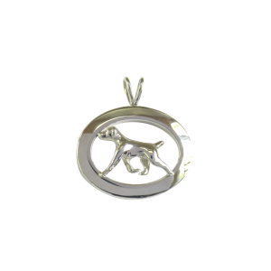 14K Gold or Sterling Silver German Shorthaired Pointer in Glossy Oval Pendant