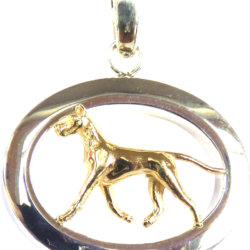 14K Gold or Sterling Silver Great Dane in Glossy Oval Pendant