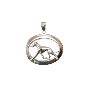 14K Gold or Sterling Silver Greyhound in Glossy Oval Pendant