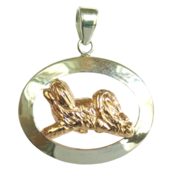 14K Gold or Sterling Silver Havanese in Glossy Oval Pendant