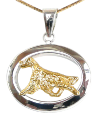 14K Gold or Sterling Silver Irish Setter in Glossy Oval Pendant