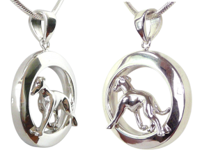 14K Gold or Sterling Silver Italian Greyhound in Glossy Oval Pendant