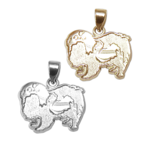 Japanese Chin Charm or Pendant in Sterling Silver or 14K Gold